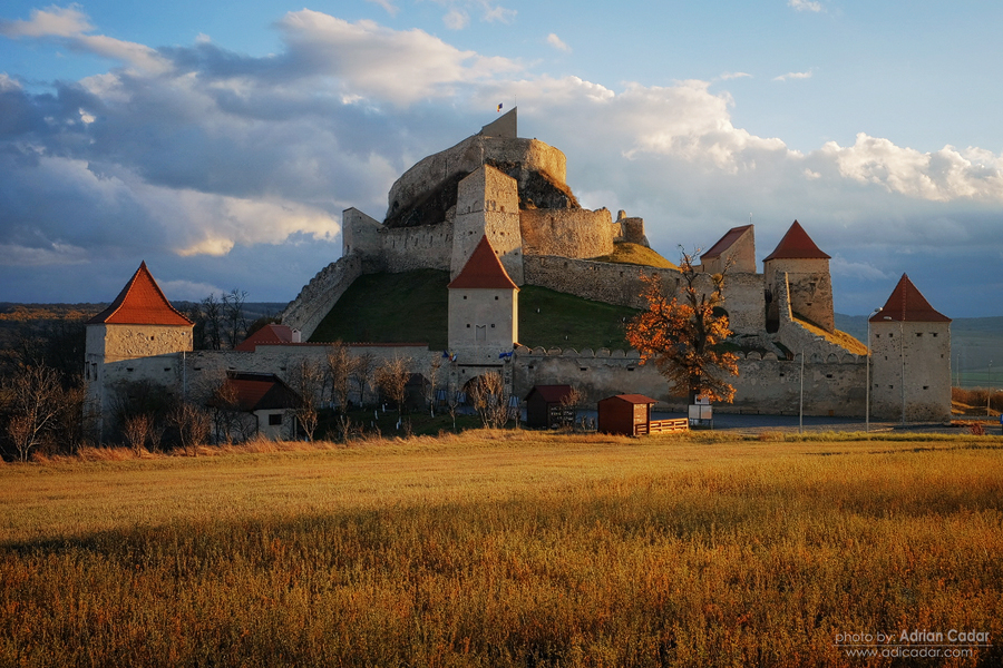 Rupea citadel at sunset